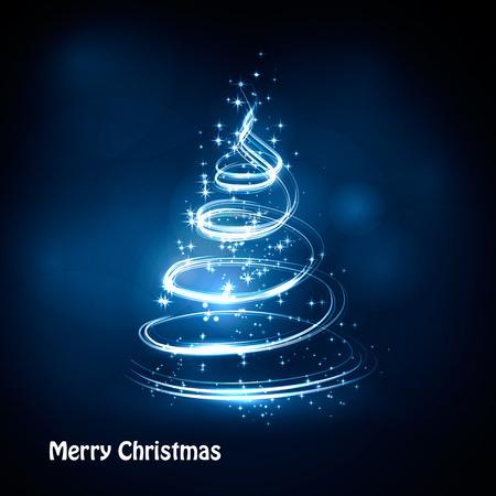 magia: �rbol de Navidad de fondo vector de luz