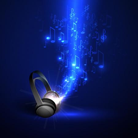 추상 음악 배경 헤드폰과 빛나는 파도, 음표.