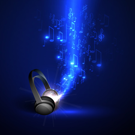 Abstract music background headphones and glowing waves, musical notes.