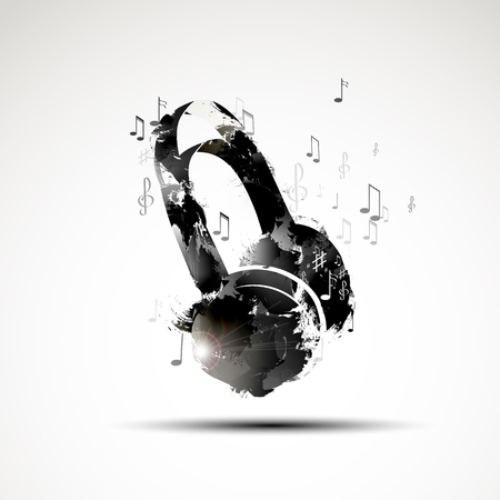Vector background abstract watercolor headphone