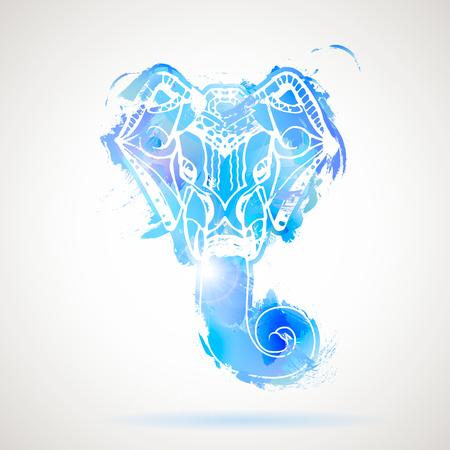 deity: Indian god Lord hindu deity Ganesha Hand drawn Elephant Head.