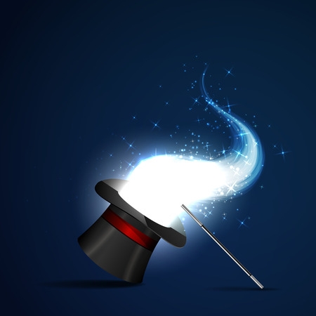 magus: Background glowing wand and magical hat