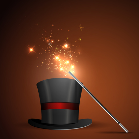magician wand: Background glowing wand and magical hat