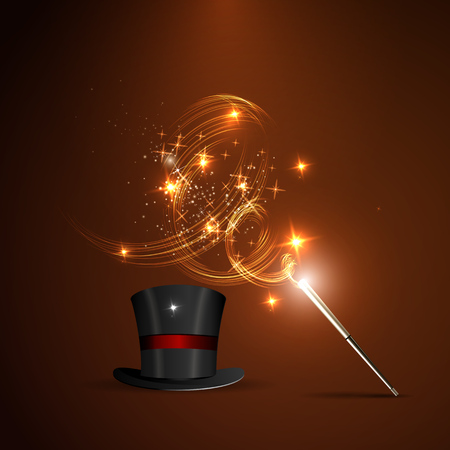 magician hat: Background glowing wand and magical hat