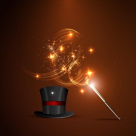 zábava: Pozadí zářící hůlkou a kouzelný klobouk Ilustrace