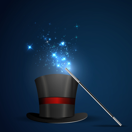 magic hat: Background glowing wand and magical hat