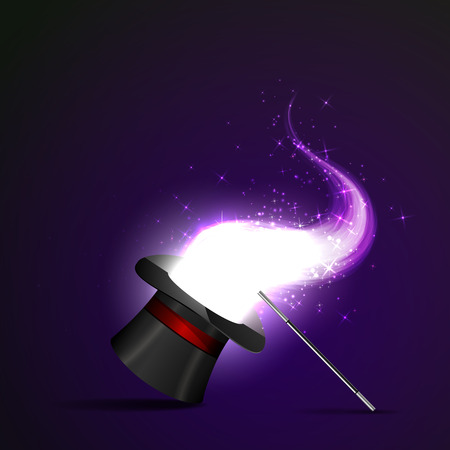 show: Background glowing wand and magical hat