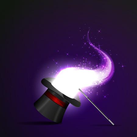 magia: Fondo resplandeciente varita y el sombrero m�gico