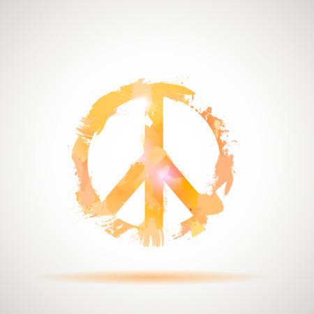 sixties: Peace Hippie Symbol. Freedom, spirituality, occultism art.