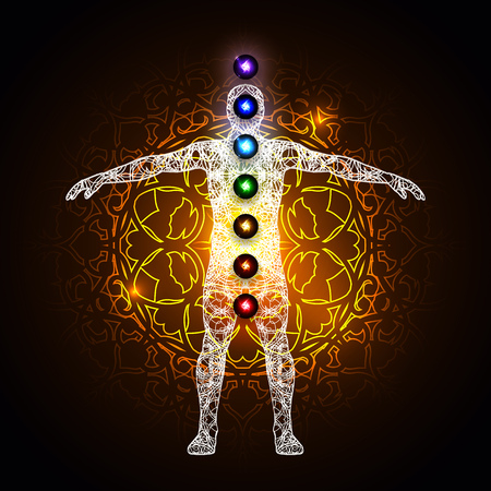 universal enlightenment: Vector illustration concept Aura and chakras. Illustration