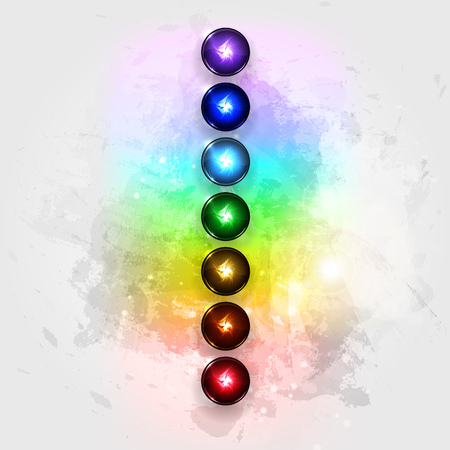 Vector illustration concept Aura and chakras. Иллюстрация