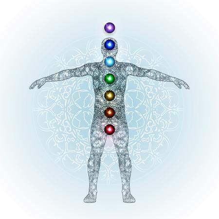 Vector illustration concept Aura and chakras.