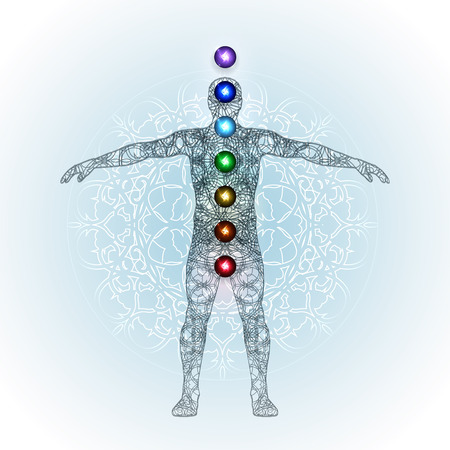 complementary: Vector illustration concept Aura and chakras. Illustration