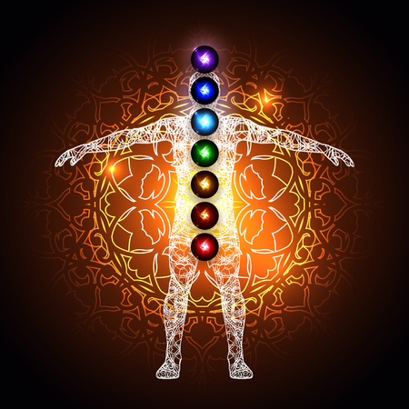 complementary therapy: Vector illustration concept Aura and chakras. Illustration