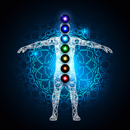 Vector illustration concept Aura and chakras. Illusztráció