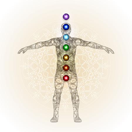Vector illustration concept Aura and chakras. Иллюстрация