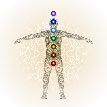 complementary therapies: Vector illustration concept Aura and chakras. Illustration