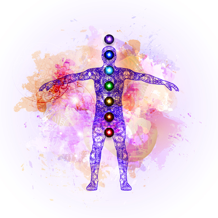 Vector illustration concept Aura and chakras. Çizim