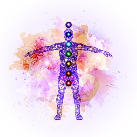 tantra: Vector illustration concept Aura and chakras. Illustration