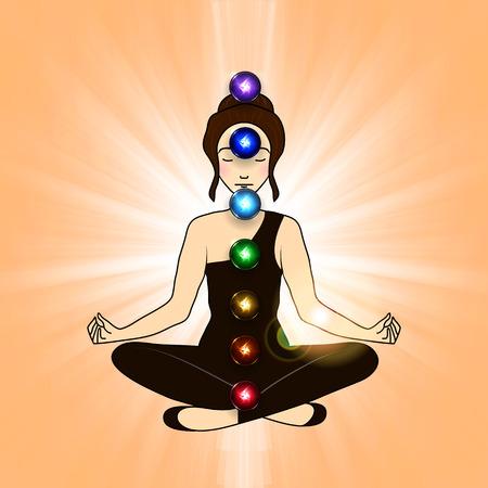 aura: Vector illustration concept Aura and chakra, meditation.