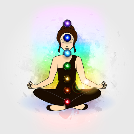 chakra: Vector illustration concept Aura and chakra, meditation.