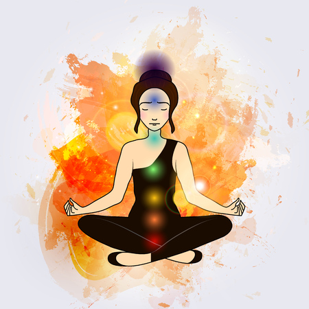 astral: Vector illustration concept Aura and chakra, meditation.
