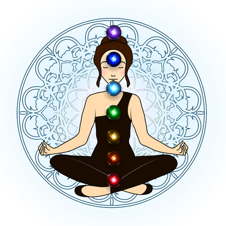 chakra: Vector illustration concept Aura and chakra, meditation.