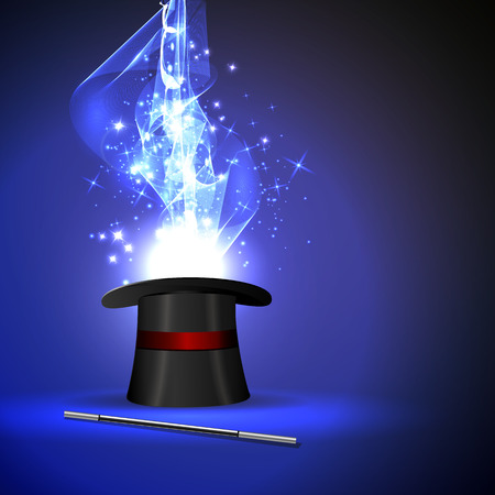 magic hat: background wand and magical glow Illustration