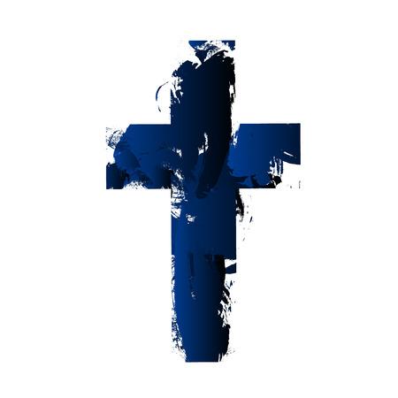 Eenvoudige christelijke kruis teken, geïsoleerd op een witte achtergrond.