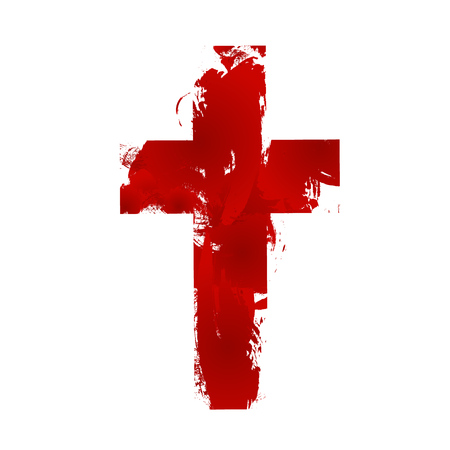 baptism: Semplice segno croce cristiana, isolato su sfondo bianco.