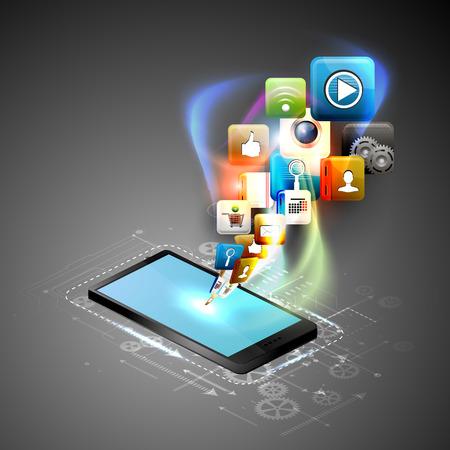 availability: Illustration social networking. Telephone and media. Illustration
