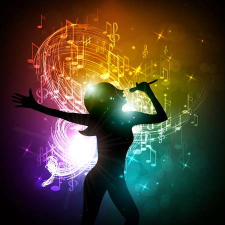 Vector illustration of a girl singing on the stage.