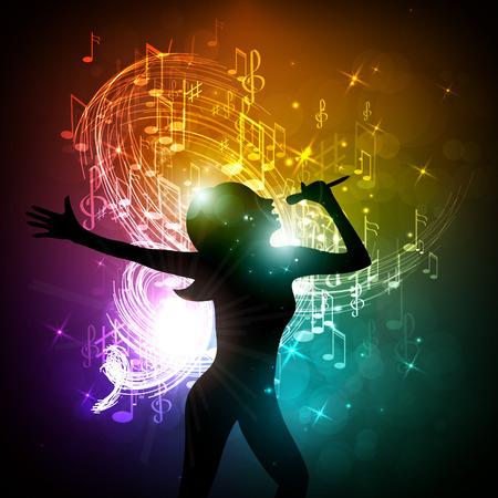 Vector illustratie van een meisje zingen op het podium.