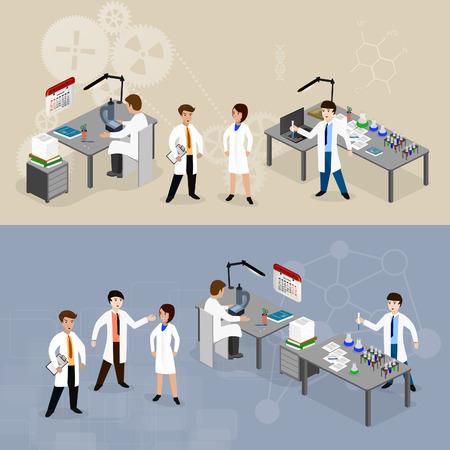medico caricatura: ilustración vectorial concepto científicos en el laboratorio con la fabricación de la investigación. Vectores