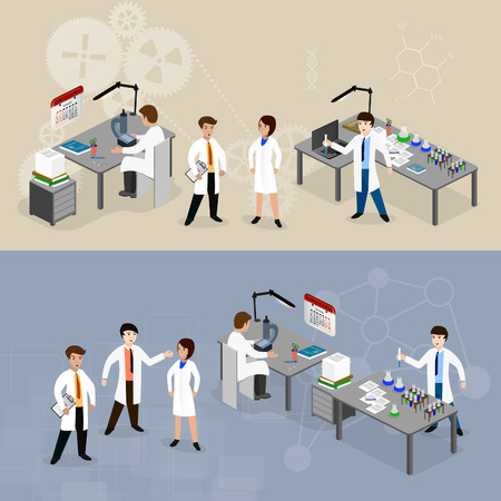 Vector illustration concept scientists in lab  with making research.