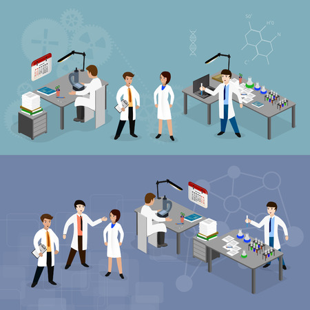 female scientist: Vector illustration concept scientists in lab  with making research.