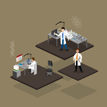 scientific research: Vector illustration concept scientists in lab  with making research.