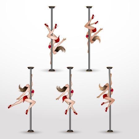 pylon: Girl dancing on the pylon. Vector illustration.