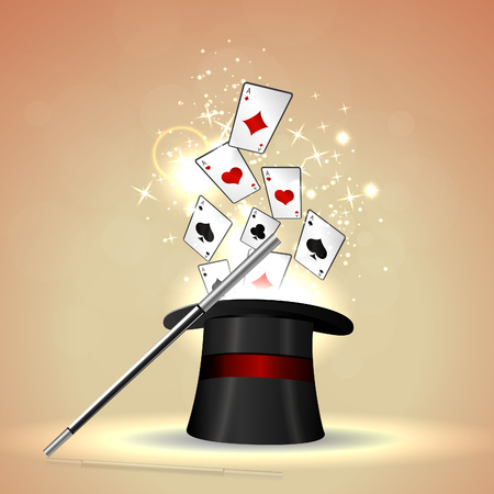 hat trick: Magic hat trick. Vector illustration. Illustration
