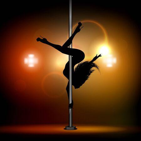 Beautiful girl dancing on the pylon. Vector illustration.  イラスト・ベクター素材