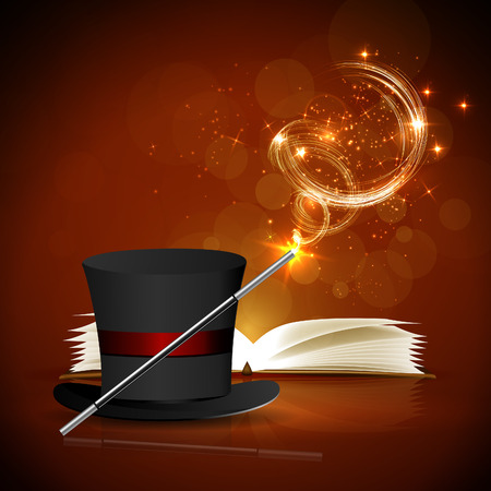 enchantment: Open magic book, magic hat and wand with bright lights. Illustration