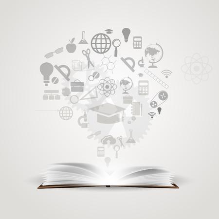 conocimiento: Vector fondo de conocimientos de los libros.