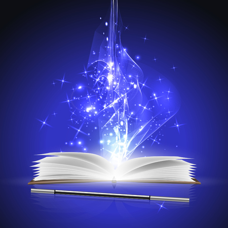 magic book: Open magic book and a wand with bright lights.