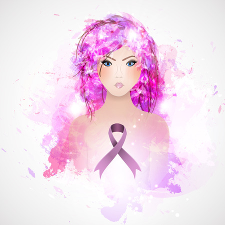 topless women: Vector Beautiful Girl with a Pink Ribbon. Breast Cancer Awareness Month. Illustration