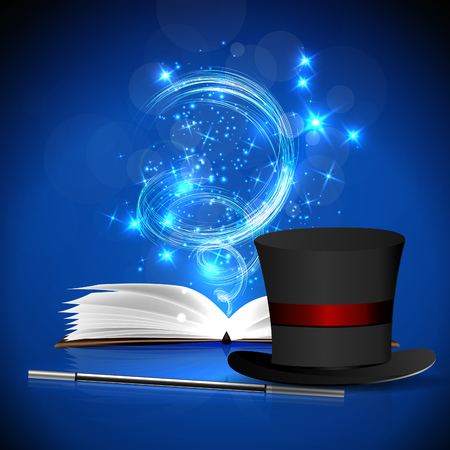 magus: Open magic book, magic hat and wand with bright lights. Illustration