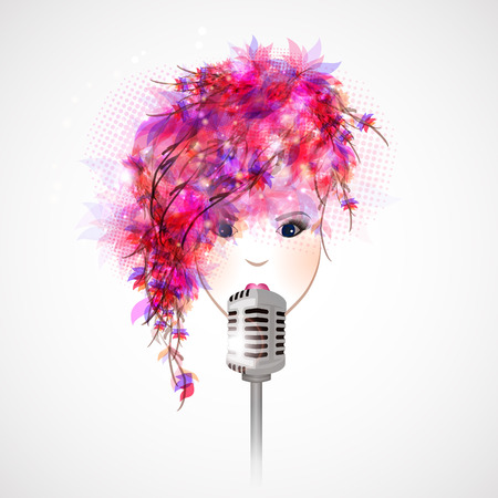 Abstract beautiful girl singing and retro microphone.