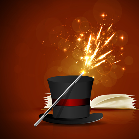 Open magic book, magic hat and wand with bright lights. Illustration