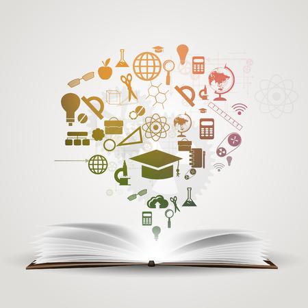 logo ordinateur: Vecteur de fond connaissances dans les livres.