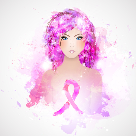 Vector Beautiful Girl with a Pink Ribbon. Breast Cancer Awareness Month. Illustration
