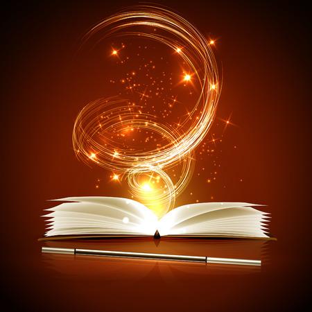 livre magique ouvert et une baguette avec des lumières brillantes.